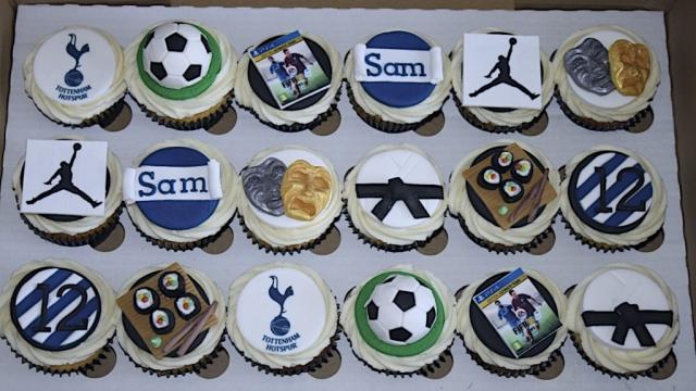 """Football, Sushi, Karate & Theatre Cupcakes"""