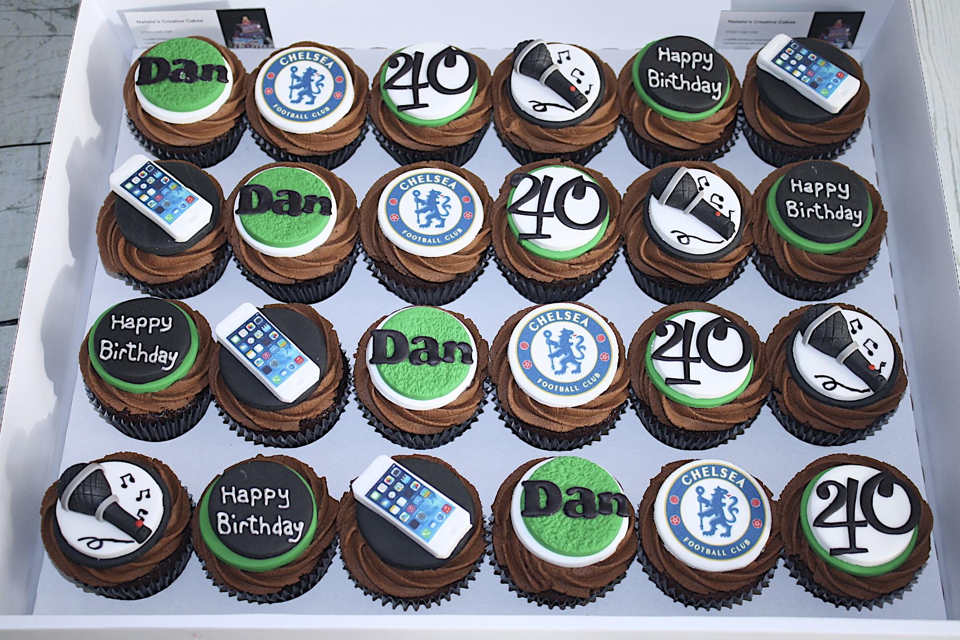 """""""Karaoke & Chelsea Football 40th Cupcakes"""""""