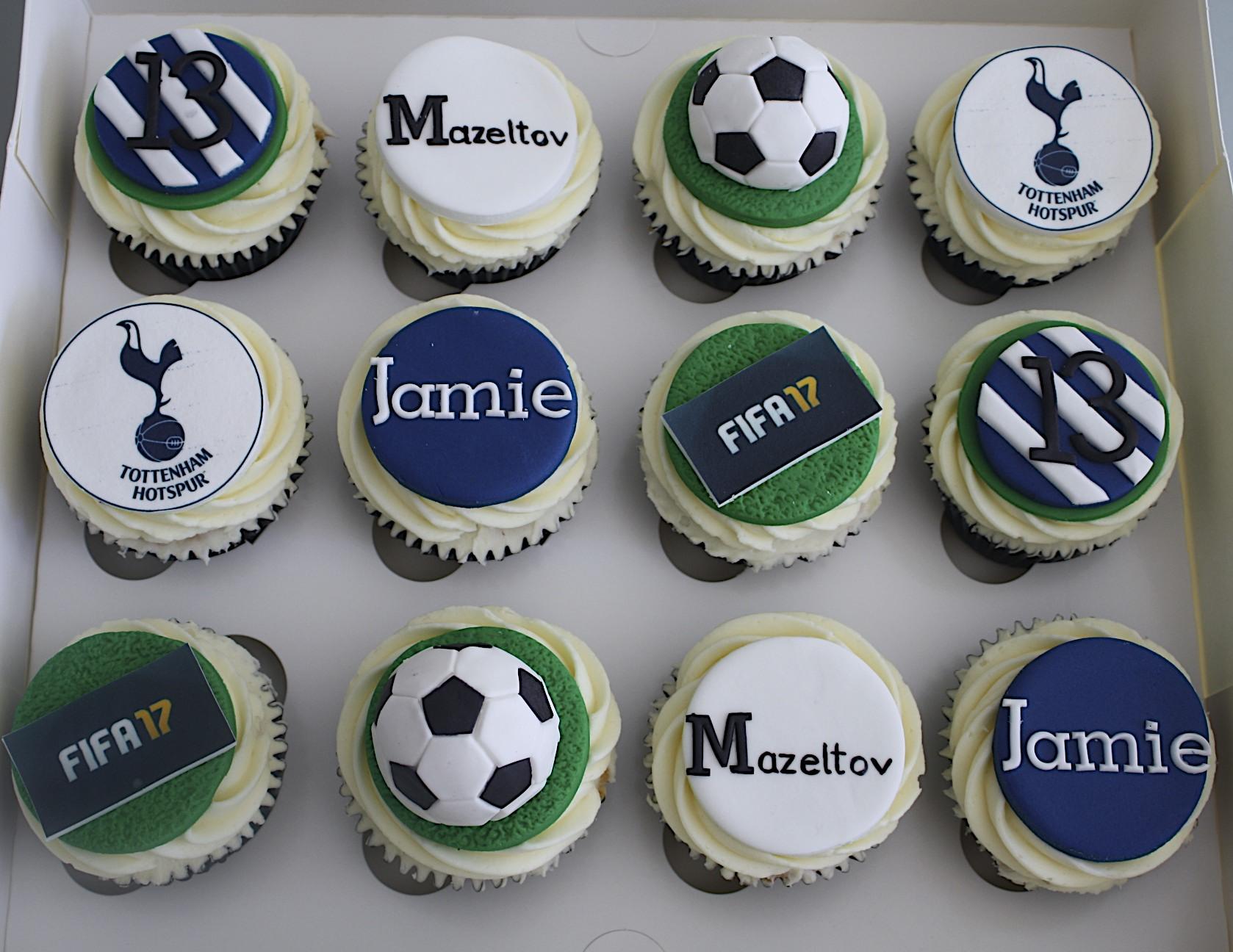 """Spurs, Fifa, Footie Cupcakes"""